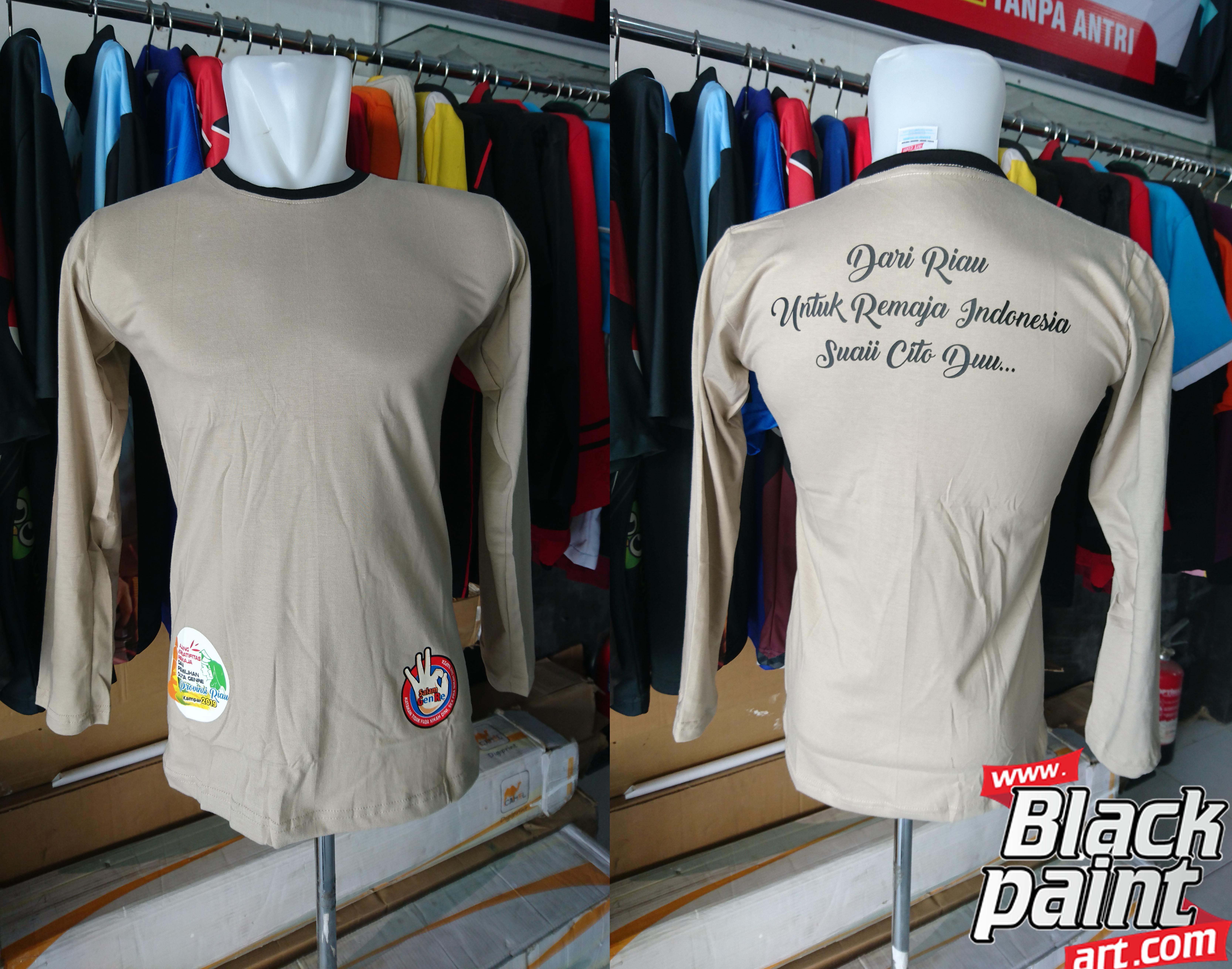 Di Blackpaint Art, kamu bisa pesan sablon baju kaos dengan harga bersaing dan bisa di proses dengan cepat.